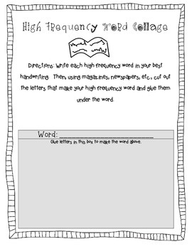High Frequency and Vocabulary Practice