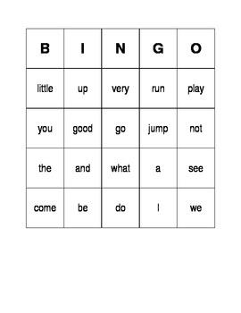 High Frequency (or Sight) Word Bingo