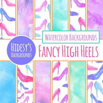 High Heeled Shoes / Cinderella Slippers Watercolor Backgrounds / Digital Papers