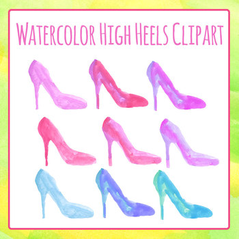 High Heeled Shoes - Handpainted Watercolor Clipart Commercial Use