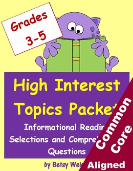 High Interest Informational Reading Selections and Questions for Grades 3-5