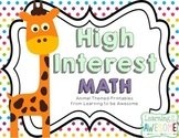 High Interest Math Activities - Animal THEME