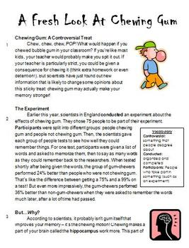 A Fresh Look At Chewing Gum: High-Interest Non-Fiction (Common Core Test Prep)