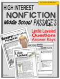 (Digital and Self-Grading) High-Interest Nonfiction Passages (Middle School)