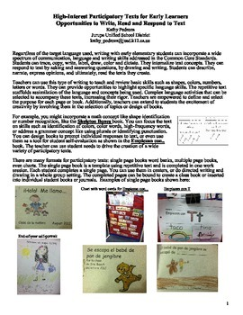 High-Interest Participatory Texts for Early Learners