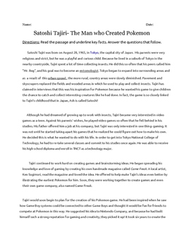 High Interest Pokemon Creator context clues comprehension