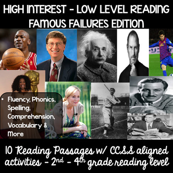 Guided Reading High Interest Passages: Famous Failures 2nd - 4th reading levels