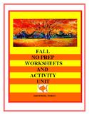 Fall No Prep Worksheets and Activity Center