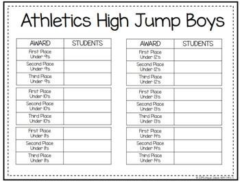 High Jump Field Awards Athletics Editable