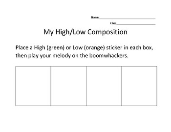High/Low Boomwhacker Composing WS