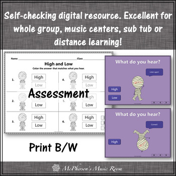 Halloween Music: High Low Interactive Music Game and Assessment {Dancing Mummy}