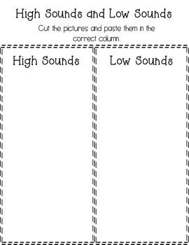 High/Low Sounds Bingo and Assessment