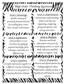 High Order Thinking Questions (HOT) Poster