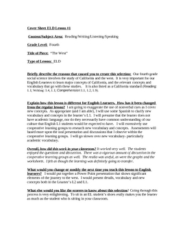 """""""High Performance ELD Lesson Plan Template: The West"""""""