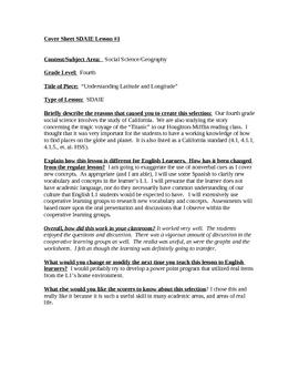 """High Performance Lesson Plan, SDAIE: Latitude & Longitude"""