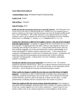 """""""High Performance Lesson Plan Template (ELD): Weather"""""""