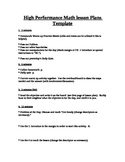 High Performance Lesson Plan Templates Compilation