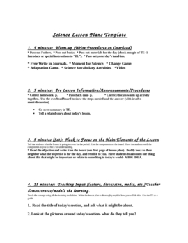 """""""High Performance Science Lesson Plan Template"""""""