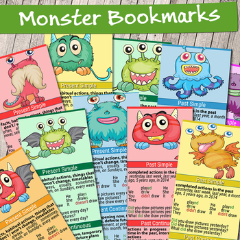 High Quality Printable Grammar Tense Bookmarks / Grammar Rules Learning Cards