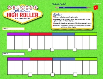 High Roller Place Value Game