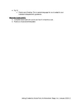 High School Acting Class Curriculum Guide