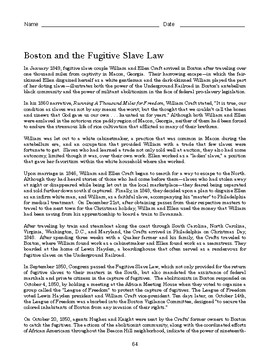 High School African American History Reading - Boston and the Fugitive Slave Law