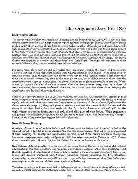 High School African American History Reading - New Orleans Origins of Jazz