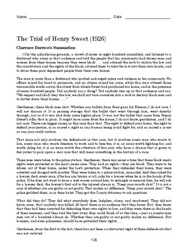 High School African American History Reading - The Trial of Henry Sweet