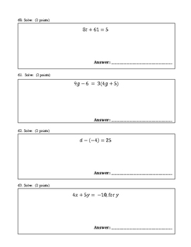High School Algebra 1 Exam