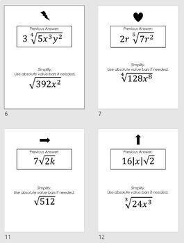 High School Algebra 2 Simplifying Radical Expressions Scavenger Hunt HSN-RN.A.2