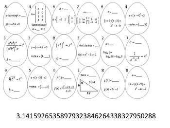 High School Algebra II Easter Egg Hunt