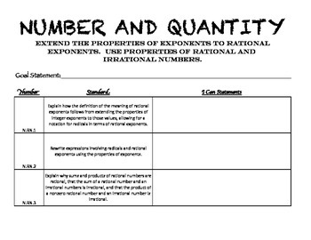High School Algebra - Number and Quantity Standards Student Data Folder