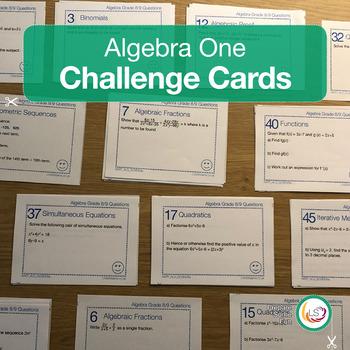 High School Algebra One Task Card