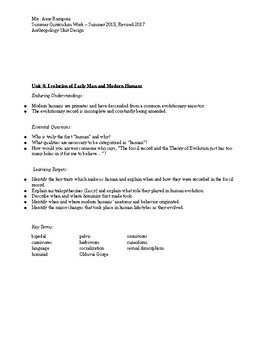 High School Anthropology Unit by Design and the ENTIRE QUARTER Lesson Plans