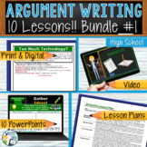 Argumentative Writing Essay Prompts Activities Lessons  - BUNDLE!! 10 Lessons!!