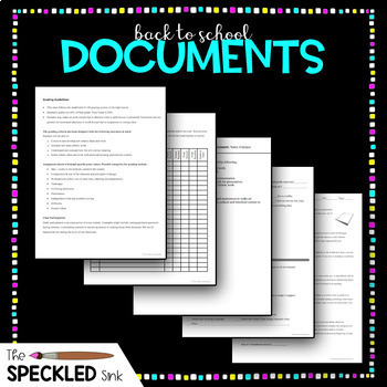 High School Art Documents. Back to School Paperwork Set