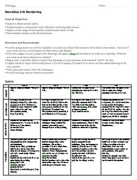 High School Art Lesson Plan. Ink Drawing Project with Rubric.