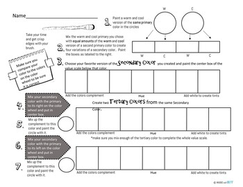 High School Art Worksheets: Introduction to Painting