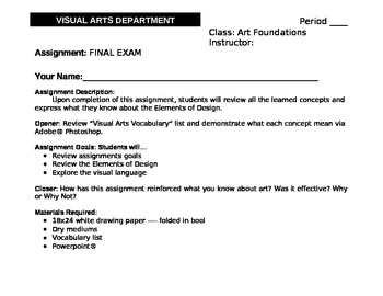 High School - Arts Foundations Final Exam - Book Making - Elements