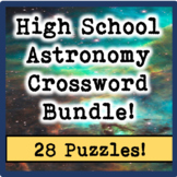High School Astronomy Crossword Puzzle Bundle (28 Puzzles!)
