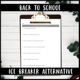 High School Back to School 1st Day Question Activity Ice B