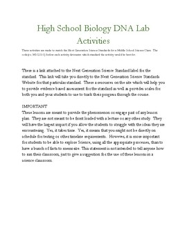 Biology DNA Activities(without activity templates) HS-LS-1-1