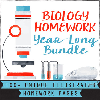 High School Biology Homework Worksheets For The Whole Year Tpt
