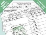 High School Biology: Photosynthesis Worksheet Pack