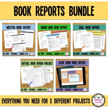 Middle or High School Book Report Rubric Package