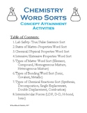 High School Chemistry Word Sorts (Concept Attainment)