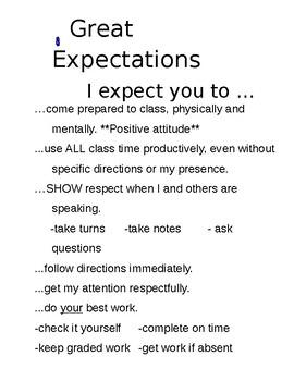 High School Classroom Expectations