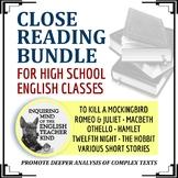 High School Close Reading Bundle (Romeo & Juliet, To Kill a Mockingbird & More)