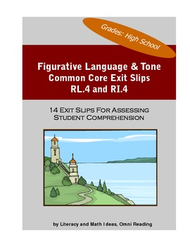 High School Common Core Literary Device and Tone Exit Slips
