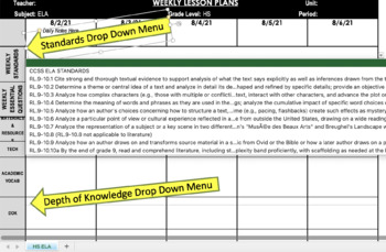 High School Common Core Weekly Lesson Plan Template - Math